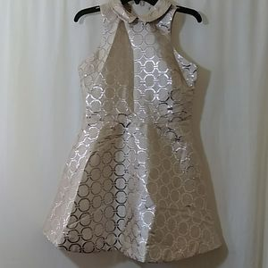 Sister Jane Silver Circles Mini Party Dress L NWT